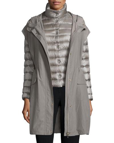 Three-In-One Puffer Jacket W/Vest, Dark Taupe