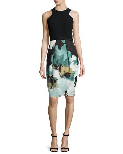 Sleeveless Printed Cocktail Dress W/ Lace Hem