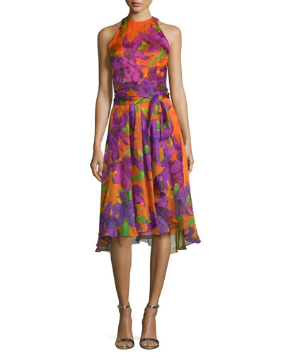 Sleeveless Floral-Print Silk Dress, Violet