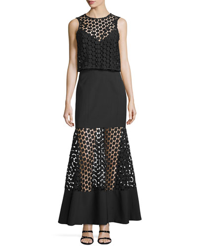 Twofer Geometric-Lace Layered Gown, Black