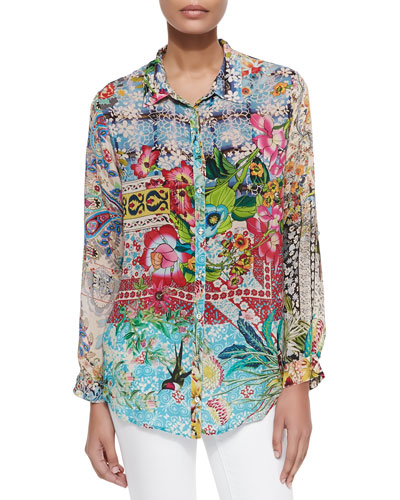 Milla Long-Sleeve Floral-Print Blouse, Petite