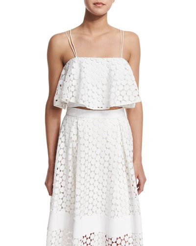Sleeveless Geometric-Lace Crop Top, White