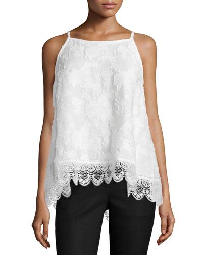 Sleeveless Silk Lace-Hem Top, Soft White