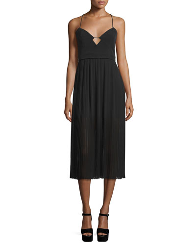 Sweetheart-Neck Pleated Cami Dress, Black