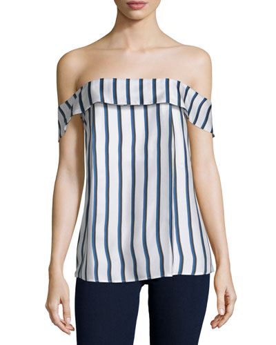 Off-The-Shoulder Striped Silk Top, Dual Stripe