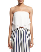 Strapless Layered Bustier Top, Ivory