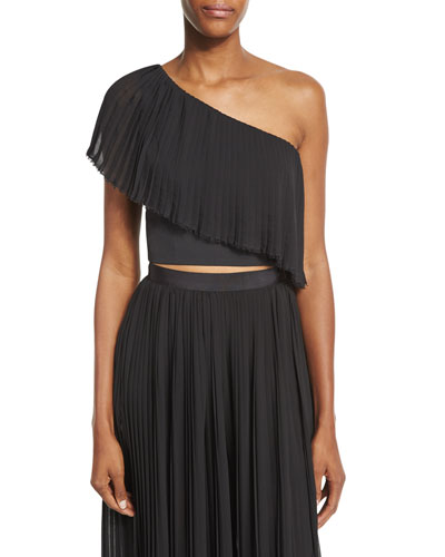 Plisse One-Shoulder Crop Top, Black