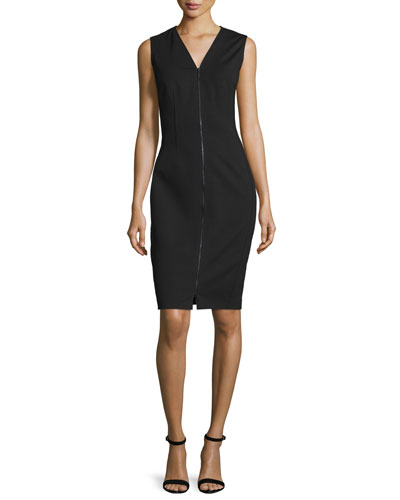 Mila Zip-Front Sheath Dress, Black