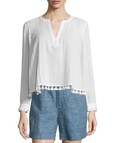 Boxy Pintucked Tassel-Trim Cotton Top, Soft White