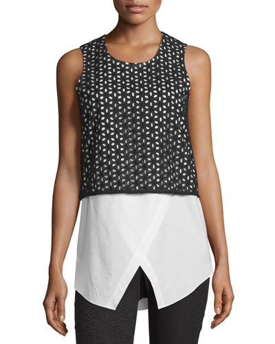 Cotton Eyelet Combo Tank, Black