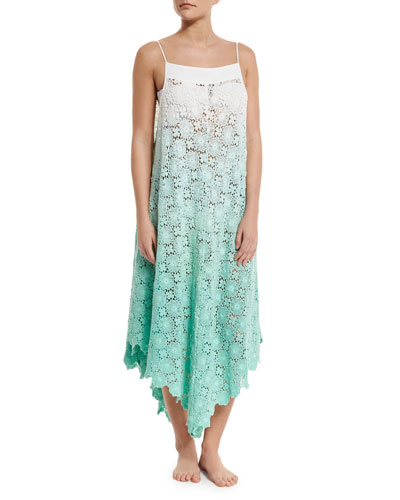 Southbay Crocheted-Lace Coverup Dress, Mint Ombre