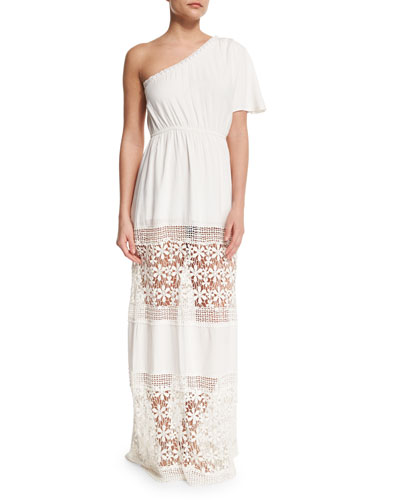 Havana Crochet-Panel One-Shoulder Coverup Dress