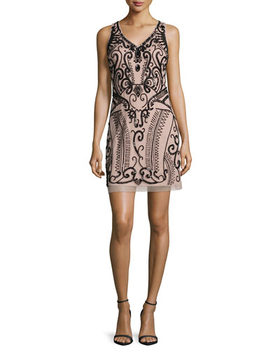Sleeveless Embellished Cocktail Dress, Nude