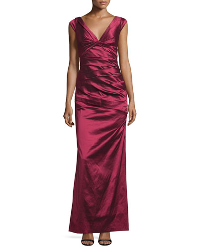 Cap-Sleeve V-Neck Pleated Gown, Ruby