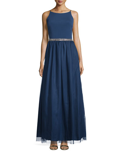 Sleeveless Embellished-Waist Combo Gown, Navy