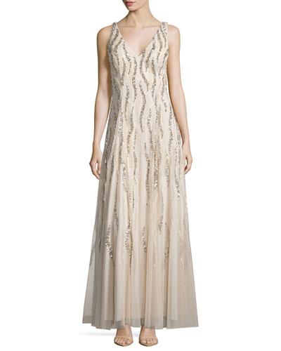 Sleeveless V-Neck Sequined & Beaded Godet Gown