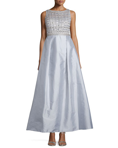 Sleeveless Embellished-Bodice Gown, Silver