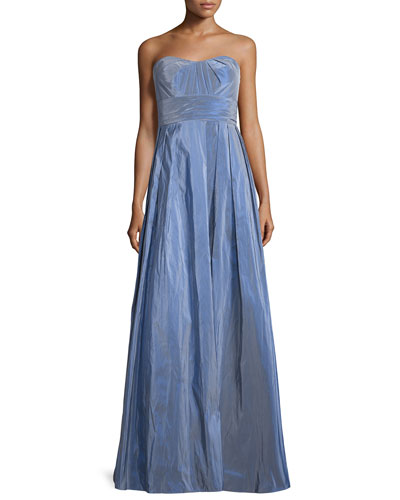 Strapless Pleated Ball Gown, Blue/Violet
