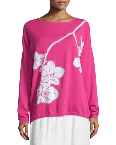 Sequined Orchid Intarsia Sweater, Petite