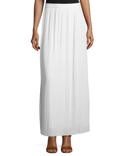 Plus Size Long Pleated Skirt, White