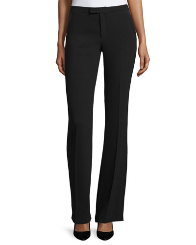 Rock Flare Crepe Pants, Black
