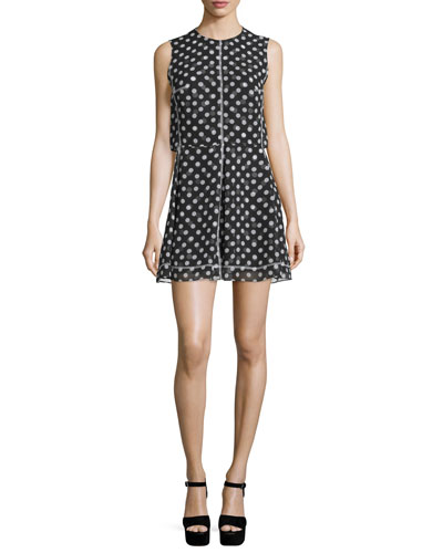 Sleeveless Polka-Dot Popover Dress, Black/White