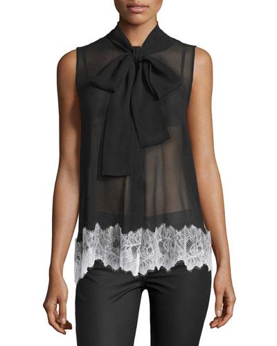 Sleeveless Silk Lace-Trim Blouse, Black