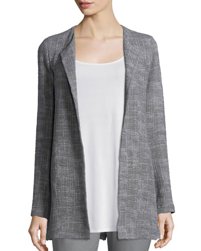 Crosshatch Tencel® Long Jacket, Smoke