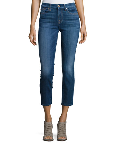Kimmie Cropped Skinny Jeans, Brilliant Blue Broken Twill