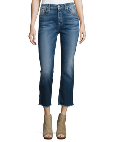 High-Waist Vintage Cropped Jeans, Bright Indigo