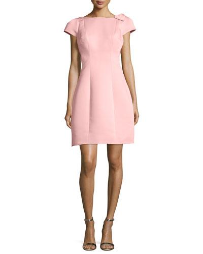 Cap-Sleeve Fit & Flare Dress, Peach