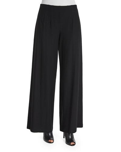 Washable Wide-Leg Pants, Black, Petite