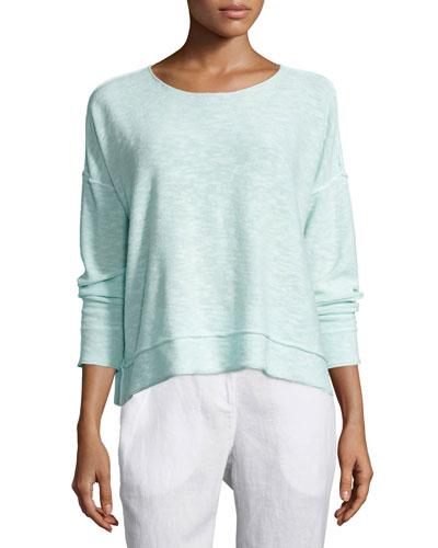 Organic Linen/Cotton Long-Sleeve Box Top, Green Mint