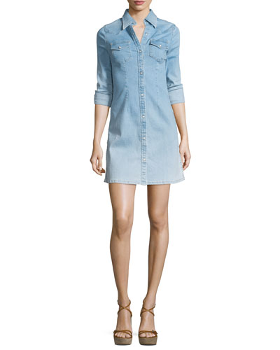 Jacqueline Button-Front Chambray Shirtdress, Crane