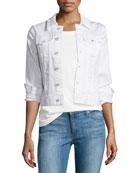 Robyn Button-Front Denim Jacket, True White