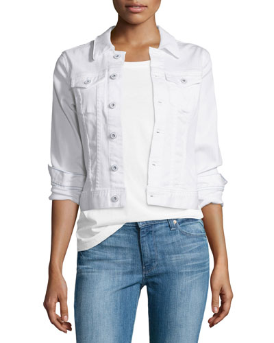 Robyn Button-Front Denim Jacket, True White
