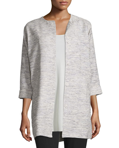 Woven Twist Long Jacket, Plus Size