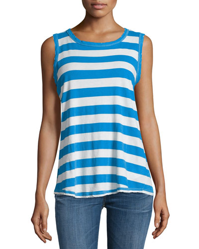 The Cross-Back Round-Neck Muscle Tee, Boating Stripe