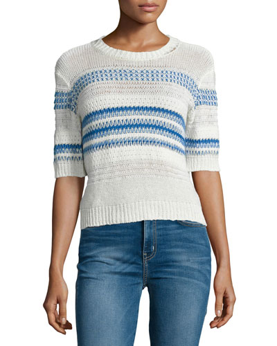 The Mixed Stitch Stripe Half-Sleeve Sweater, Blue Horizon