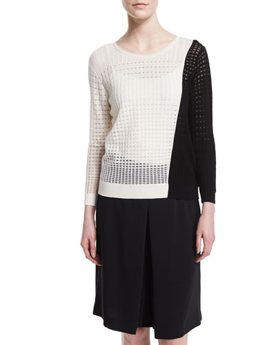 Colorblock Open-Weave Sweater, Black/White
