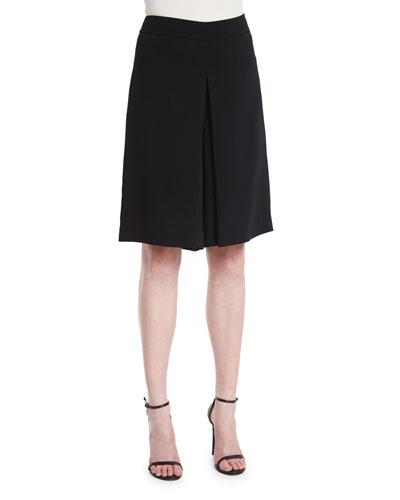 Mid-Rise Flat-Front Culottes, Black