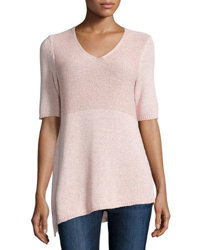 Half-Sleeve V-Neck Body Tunic, Pink