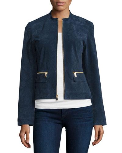 Suede Zip-Front Jacket, Midnight Blue