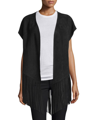 Open-Front Suede Poncho W/Fringe, Black