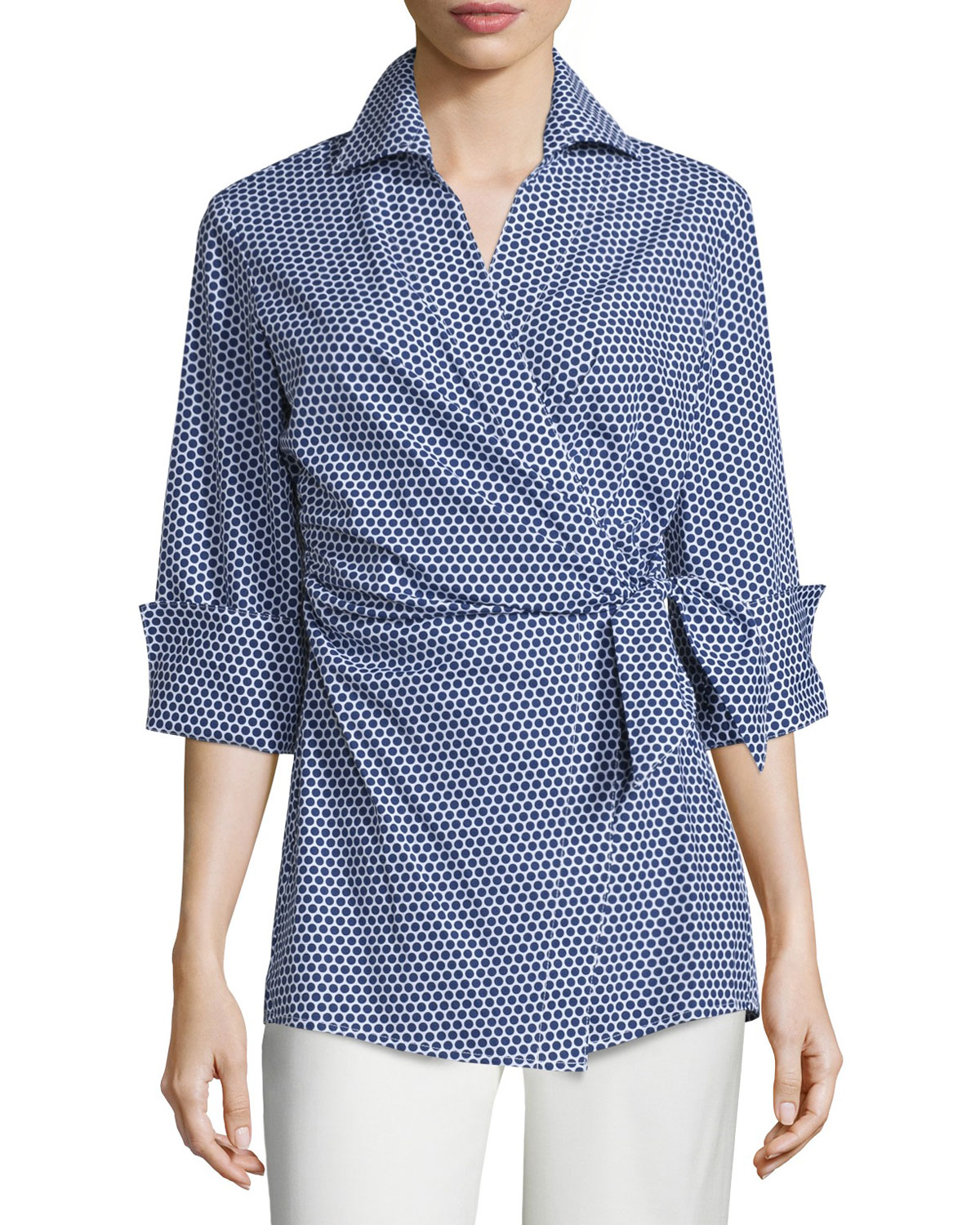 Honeycomb-Dot Wrap Blouse, Navy/White