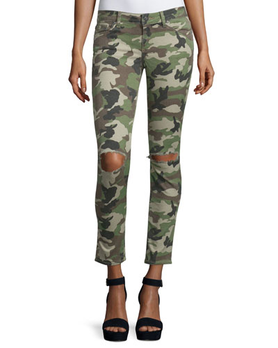 Emma Camouflage Distressed Skinny Jeans, Warden