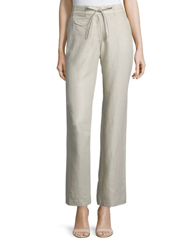 Straight-Leg Drawstring-Waist Linen Pants, Natural, Women's