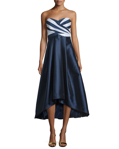 Strapless Sweetheart-Neck Midi Gown, Navy/Optice