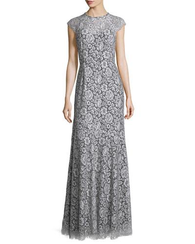 Cap-Sleeve Lace Gown, White/Black