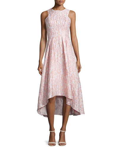 Sleeveless Printed High-Low Cocktail Dress, Blush